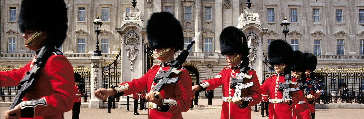 Grenadier Guards at Buckingham Palace, London. (Credit: Peter Phipp/Getty Images)