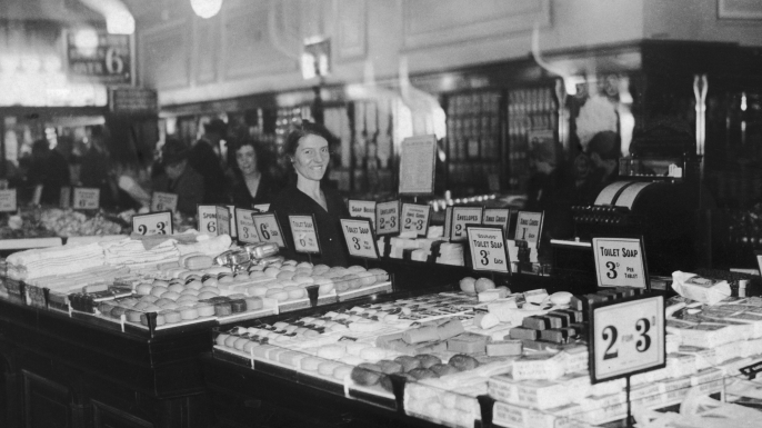 The toiletries department in a Woolworths store, 1928. (Credit: General Photographic AgencyHulton Archive/Getty Images)