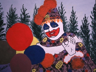 """A self portrait painted by John Wayne Gacy titled """"Pogo the Clown"""". (Credit: Steve Eichner/WireImage)"""