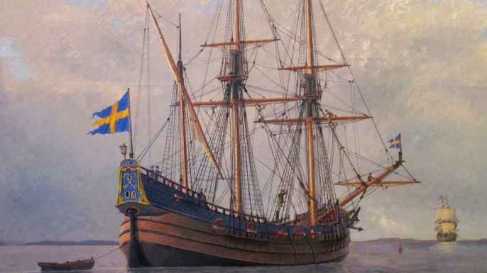 Painting of the Kalmar Nyckel, a Dutch-built armed merchant ship famed for carrying Swedish settlers to North America in 1638 to establish the colony of New Sweden. (Credit: Jacob Hägg/Wikimedia Commons/PD-US)