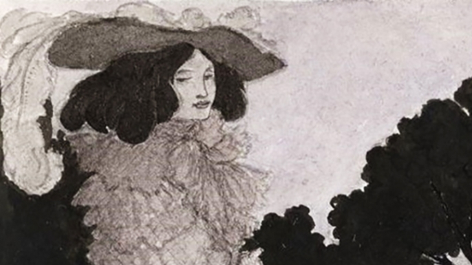 """Illustration of Mademoiselle de Maupin, from """"Six Drawings Illustrating Theophile Gautier's Romance Mademoiselle de Maupin"""", by Aubrey Beardsley, 1897."""
