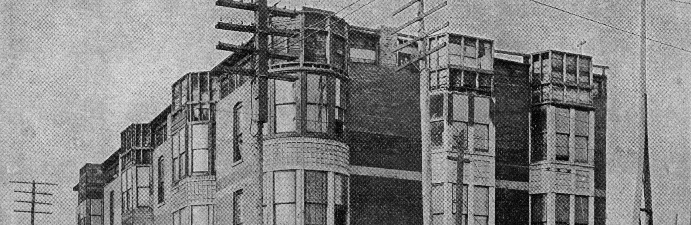 View of the World's Fair Hotel (labelled as 'Holmes' 'Castle',' but also known as the 'Murder Castle,' after it's actual purpose became known) Chicago, Illinois, mid 1890s. The structure was designed by serial murderer Herman Webster Mudgett (better known by his alias H.H. Holmes), a phramacist who built the structure to lure his, mostly female, victims from the World's Columbian Exposition. (Credit: Chicago History Museum/Getty Images)