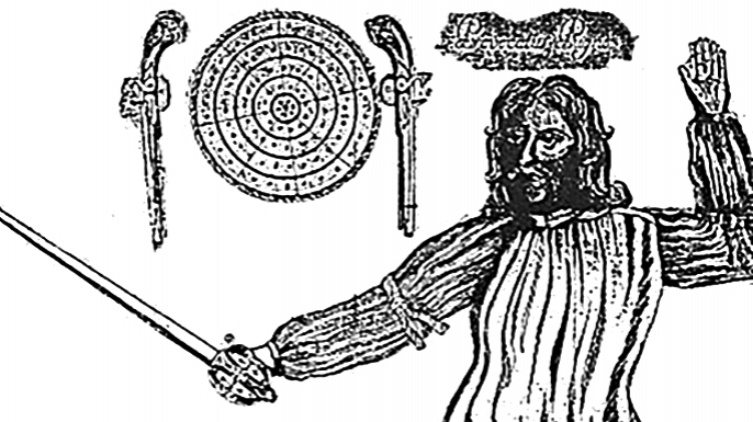"""Portrait of Donald McBane, Scottish Fencing Master, from his own book """"The Expert Swordsman's Companion""""."""