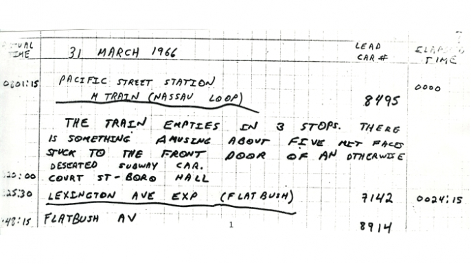 Notes from Peter Samson planning out the subway ride. (Courtesy of Peter Samson)