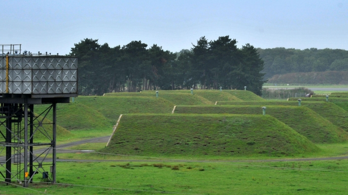 A general view of disused missile silos at the former RAF Bentwaters base near Rendlesham Forest, Suffolk where an alleged alien interference with US nuclear weapons site took place. (Credit: PA Images/Alamy Stock Photo)