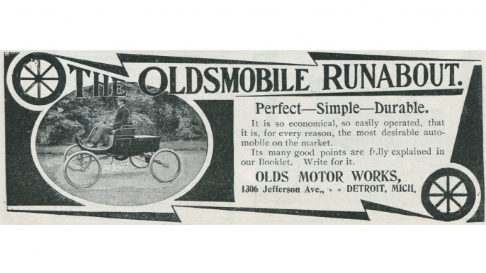 Advertisement for the Oldsmobile Runabout by the Olds Motor Works in Detroit, Michigan, 1901. (Credit: Jay Paull/Getty Images)
