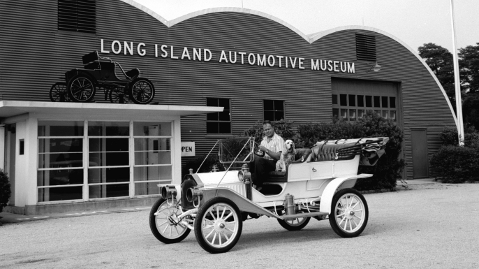A Buick Model 10 outside the Long Island Automotive Museum in New York State, 1950s. (Credit: Carsten/Three Lions/Getty Images)
