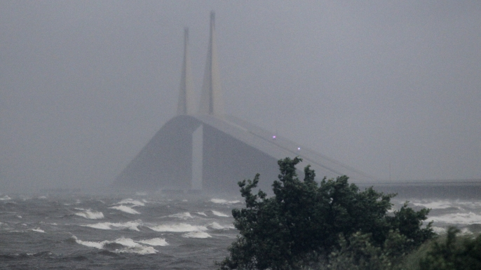 Intense waves during Tropical Storm Emily near the Sunshine Skyway Bridge in St. Petersburg, Florida. (Credit: Dirk Shadd/Tampa Bay Times via AP)