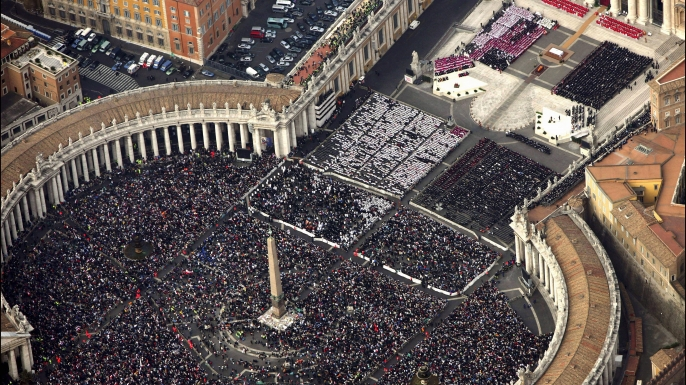 Aerial view of the funeral of Pope John Paul II at Saint Peter's Basilica in Rome, Italy, 2005. (Credit: Eric VANDEVILLE/Gamma-Rapho via Getty Images)