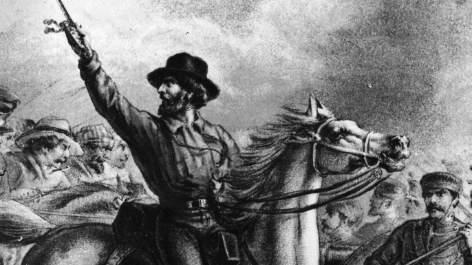 Italian patriot and a leader of the Risorgimento, Giuseppe Garibaldi fighting and capturing French guns in Rome. (Credit: Hulton Archive/Getty Images)