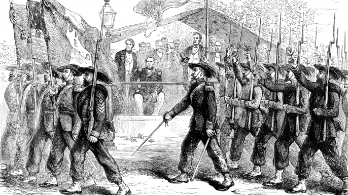March past of the 'Garibaldi Guard' before President Lincoln. The 'Garibaldi Guard' was the nickname given to the 39th New York Volunteer Infantry Regiment that fought in the American Civil War. Many of the regiment's members were Italian Americans who had served under Giuseppe Garibaldi in Italy. (Credit: The Print Collector/Print Collector/Getty Images)