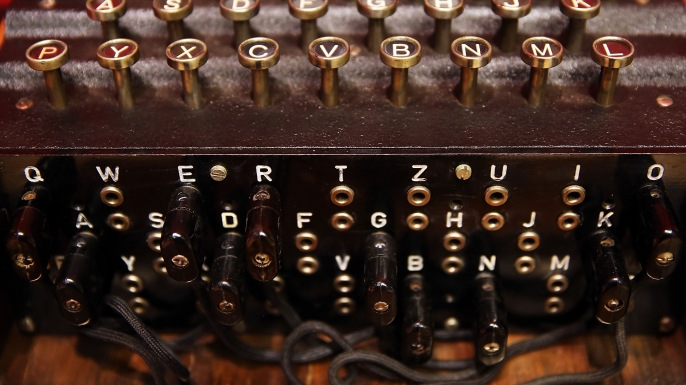 An Enigma cipher machine that belonged to codebreaker Alan Turing at Bonham's Auction House, New York City. (Credit: Spencer Platt/Getty Images)