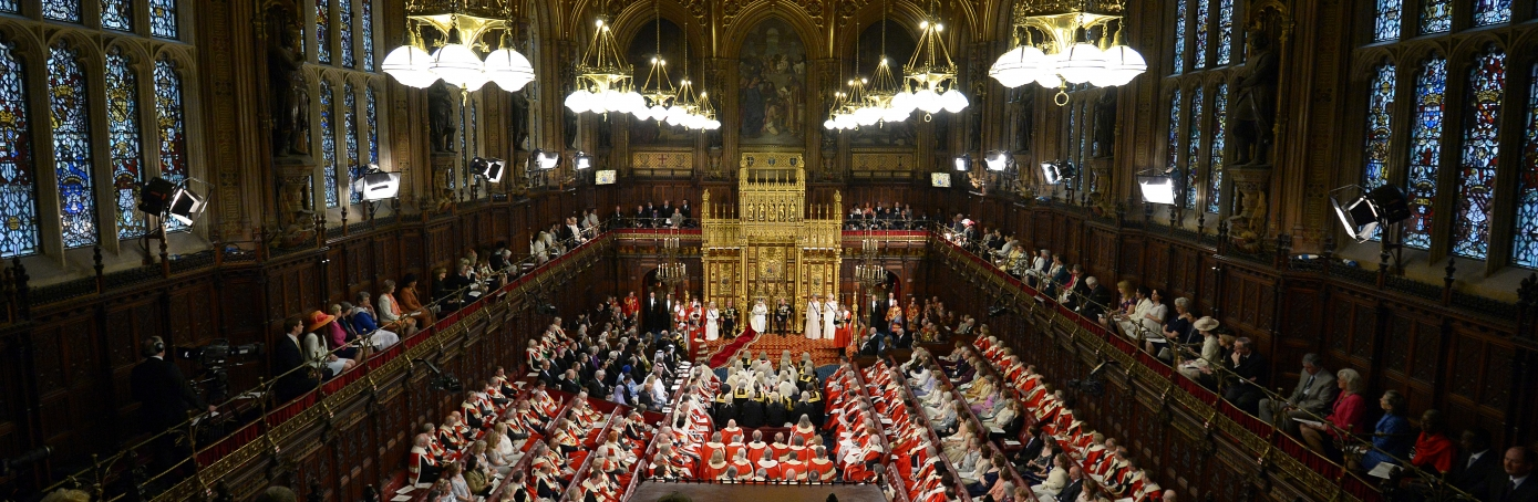 A view of The House of Lords as Queen Elizabeth II delivers her speech during the State Opening of Parliament in the House of Lords at the Palace of Westminster. (Credit: Carl Court - WPA Pool/Getty Images)