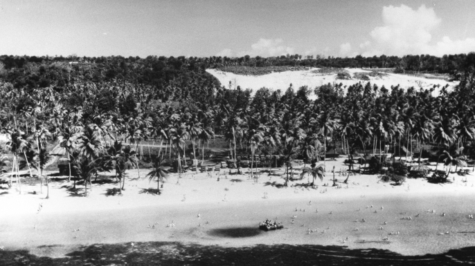Aerial view of military personnel enjoying the beach at Tumon Bay, 1945.  (Credit: J. R. Eyerman/The LIFE Picture Collection/Getty Images)