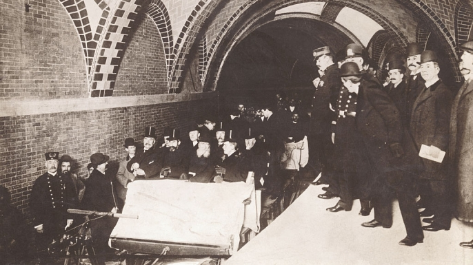 Financiers, city officials, and policemen ride New York City's first subway on October 27, 1904 at City Hall station. Seated toward the front of the ceremonial flat car were Alexander Orr, August Belmont II, John B. McDonald, and Mayor George B. McClellan.