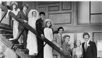 """TV's Brady Bunch family as they appeared in the original series and the 1981 spinoff, """"The Brady Brides."""" ("""