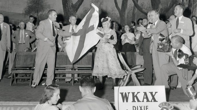 The Dixie Democrats seceding from the Democratic Party. The rump convention, called after the Democrats had attached President Truman's civil rights program to the party platform, placed Governor Strom Thurmond of South Carolina and Governor Fielding L. Wright of Mississippi in nomination. (Credit: Bettmann/Getty Images)