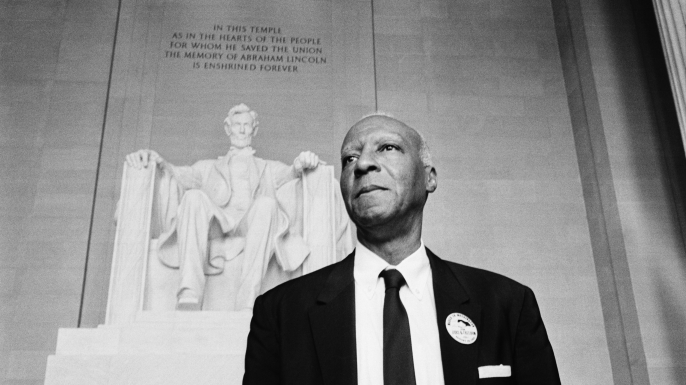 Civil rights leader A. Philip Randolph at the Lincoln Memorial during the March on Washington, 1963. (Credit: Bettmann/Getty Images)