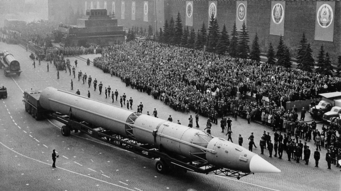 Ballistic missiles during a military parade in Red Square, Moscow 1960s. (Credit: Sovfoto/UIG via Getty Images)