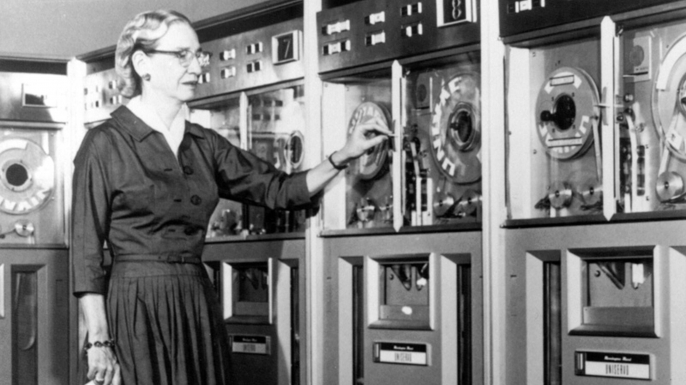 A publicity shot of American computer scientist Grace Hopper advertising the Common Business Oriented Language (COBOL), a more user-friendly computer language, 1952. (Credit: Science History Images/Alamy Stock Photo)