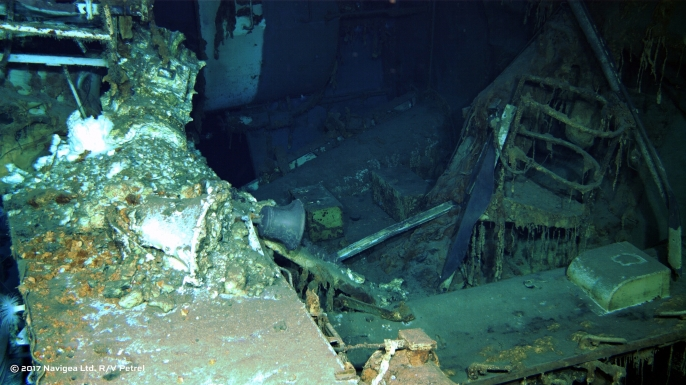 Photograph of the USS Indianapolis discovered by the expedition crew of Paul Allen's research vessel R/V Petrel. (Credit: Paul Allen)