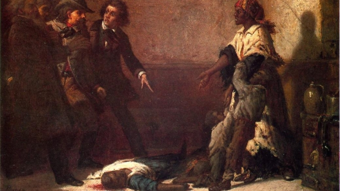 Margaret Garner, an escaped slave, as she stands over her child whom she killed so they would not have to endure slavery any longer.