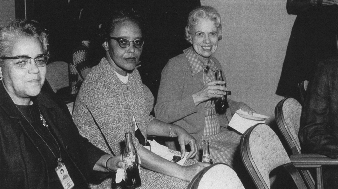 """Human computers Dorothy Vaughan (left) with Lessie Hunter (center), and Vivian Adair (right). Vaughan began her career at NASA's segregated """"West Area Computing"""" unit and was promoted to become NASA's first black supervisor. (Credit: NASA)"""
