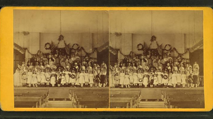 Stereo card of a singing school in a church in Winchendon, MA in the late 1800s. (Credit: The New York Public Library)