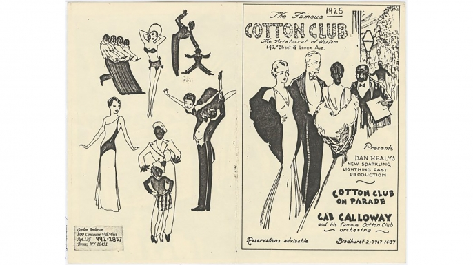 Advertisement for the Cotton Club, presenting Dan Healy's Cotton Club on Parade with Cab Calloway and his famous Cotton Club Orchestra. (Credit: The New York Public Library)