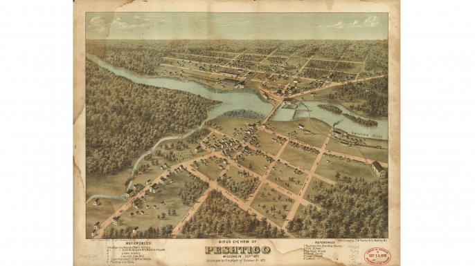 Bird's eye view of Peshtigo, Wisconsin created September 1871, just one month before the fire. (Credit: The Library of Congress)