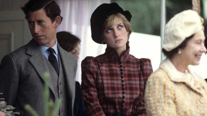 Prince Charles and Princess Diana with Queen Elizabeth II at the Braemar Games, Scotland, 1981. (Credit: Photonews Scotland/REX/Shutterstock)