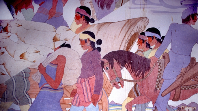 Detail of murals painted by Gerald Nailor in Arizona. (Credit: Peter Horree/Alamy Stock Photo)