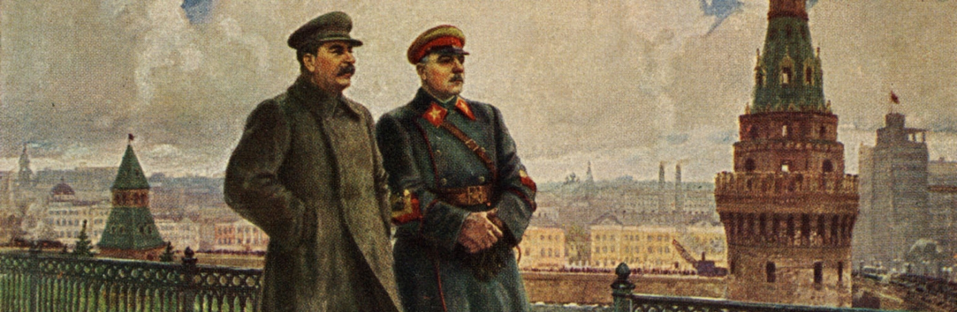 Postcard of Joseph Stalin and Kliment Voroshilov on the Kremlin grounds. (Credit: Culture Club/Getty Images)