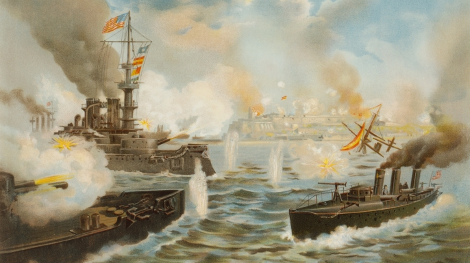On May 12, 1898 during The Spanish-American War, U.S. Navy Warships Bombard San Juan, Puerto Rico. (Credit: Universal History Archive/UIG via Getty Images)