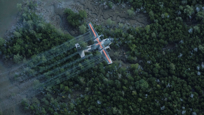 US plane spraying Vietnam landscape with tainted herbicide/defoliant Agent Orange during the war. (Credit: Dick Swanson/The LIFE Images Collection/Getty Images)