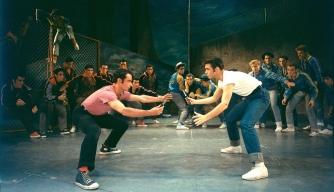 The rumble scene from the stage production of 'West Side Story,' 1957. (Credit: Hank Walker/The LIFE Picture Collection/Getty Images)