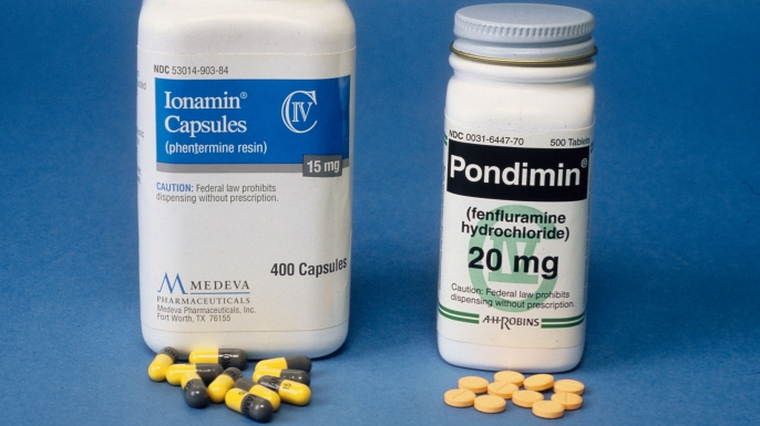 Bottles of Phentermine and Fenfluramine, commonly known as Phen-Fen.  (Credit: Yvonne Hemsey/Getty Images)
