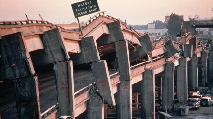 The remains of the Cypress Freeway following the Loma Prieta Earthquake of 1989. (Credit: Jim Sugar/Corbis via Getty Images)