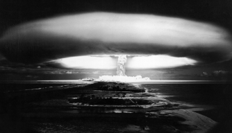 An explosion during  experiments with nuclear warheads at Attol of Mururoa, French Polynesia. (Credit: Michel BARET/Gamma-Rapho via Getty Images)