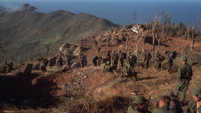 US soldiers in the barren landscape of Phu Loc, South Vietnam. (Credit: Bettmann/Getty Images)