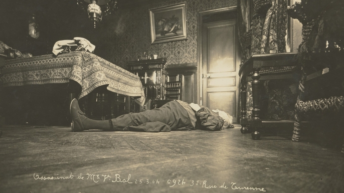 Dramatic angles: In this  photo of Monsieur Bal, murdered in Paris on March 25, 1904, the camera was placed on the floor beside the dead man. (Credit: The Metropolitan Museum of Art)