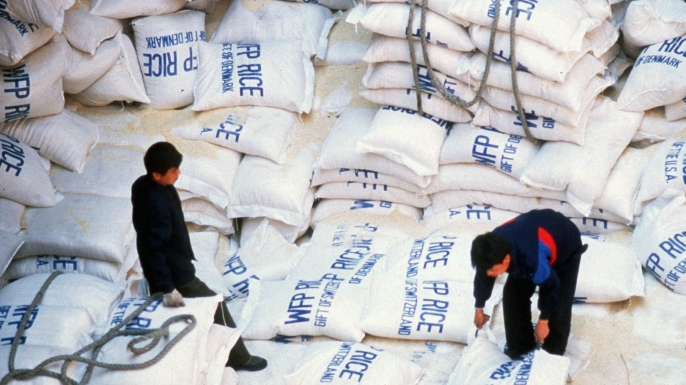 Rice flown into North Korea, by the U.N. World Food Program, being unloaded in answer to the famine caused by severe floods, 1996. (Credit: AP Photo/HO)