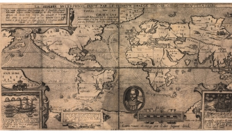 A 1581 map showing Sir Francis Drake's round-the-globe explorations. (Credit: Everett Collection Historical/Alamy Stock Photo)