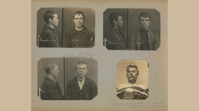 Clerk-turned-criminologist Alphonse Bertillon pioneered the practice of mug shots taken from the front and the side. One reason: He believed that ear size and shape were strong identifiers. (Credit: The Metropolitan Museum of Art)