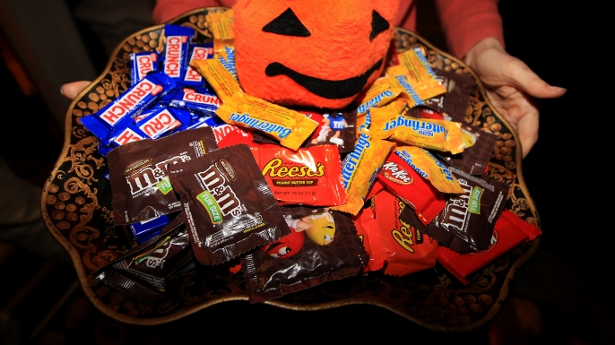 Candy for trick-or-treaters on Halloween. (Credit: Barry Chin/The Boston Globe via Getty Images)