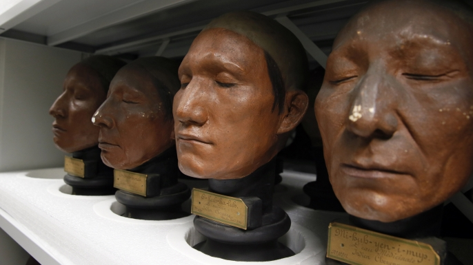 Casts of Native American heads from the 19th century that are part of the phrenology collection at the Museum of Man (Musee de l'Homme) in Paris. (Credit: Patrick Kovarik/AFP/Getty Images)
