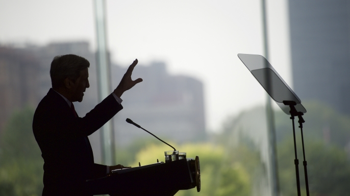 U.S. Secretary of State John Kerry delivers a speech on the nuclear agreement with Iran at the National Constitution Center September 2, 2015 in Philadelphia, Pennsylvania. (Credit: Mark Makela/Getty Images)