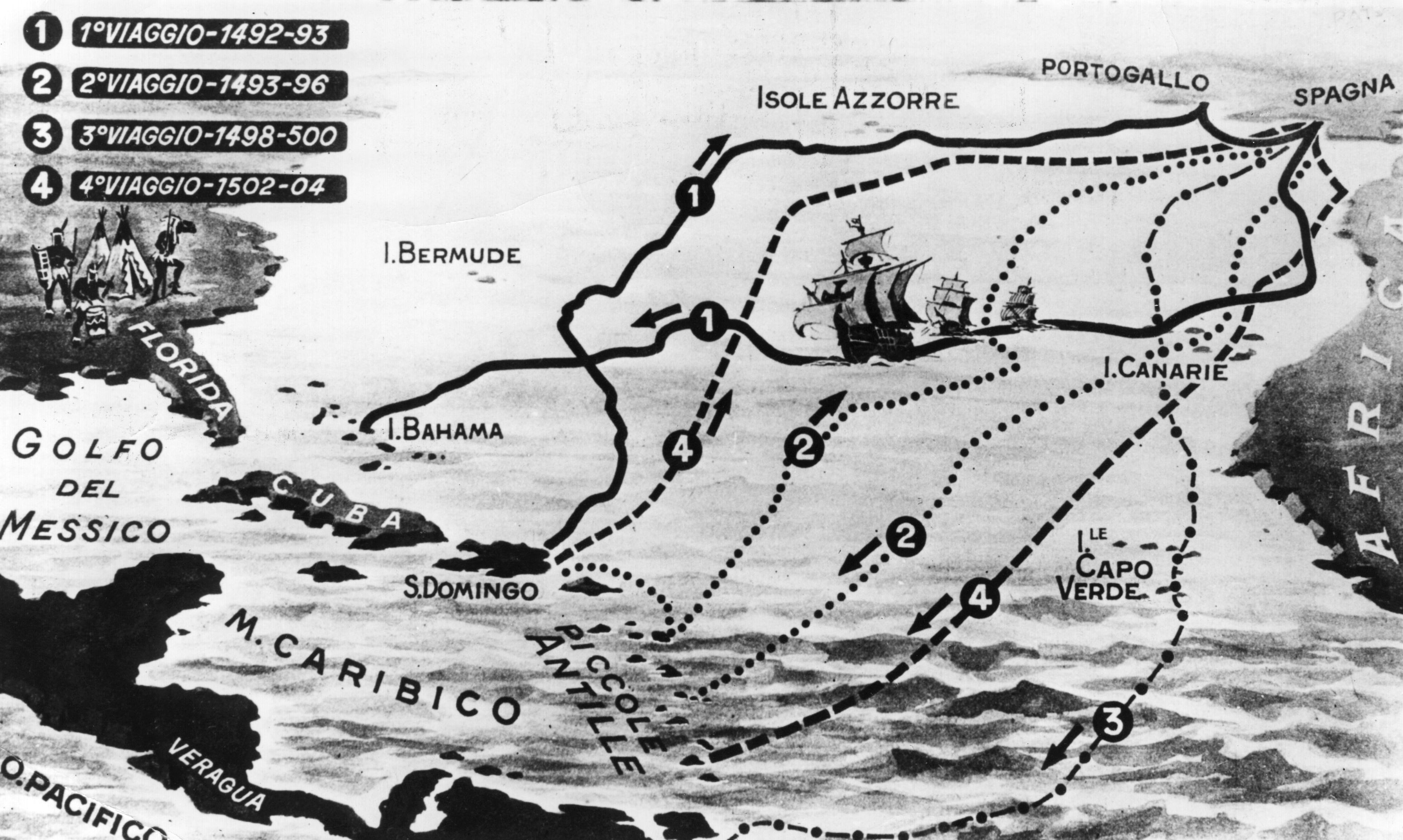 circa 1510 a map of the four voyages of the italian navigator christopher columbus