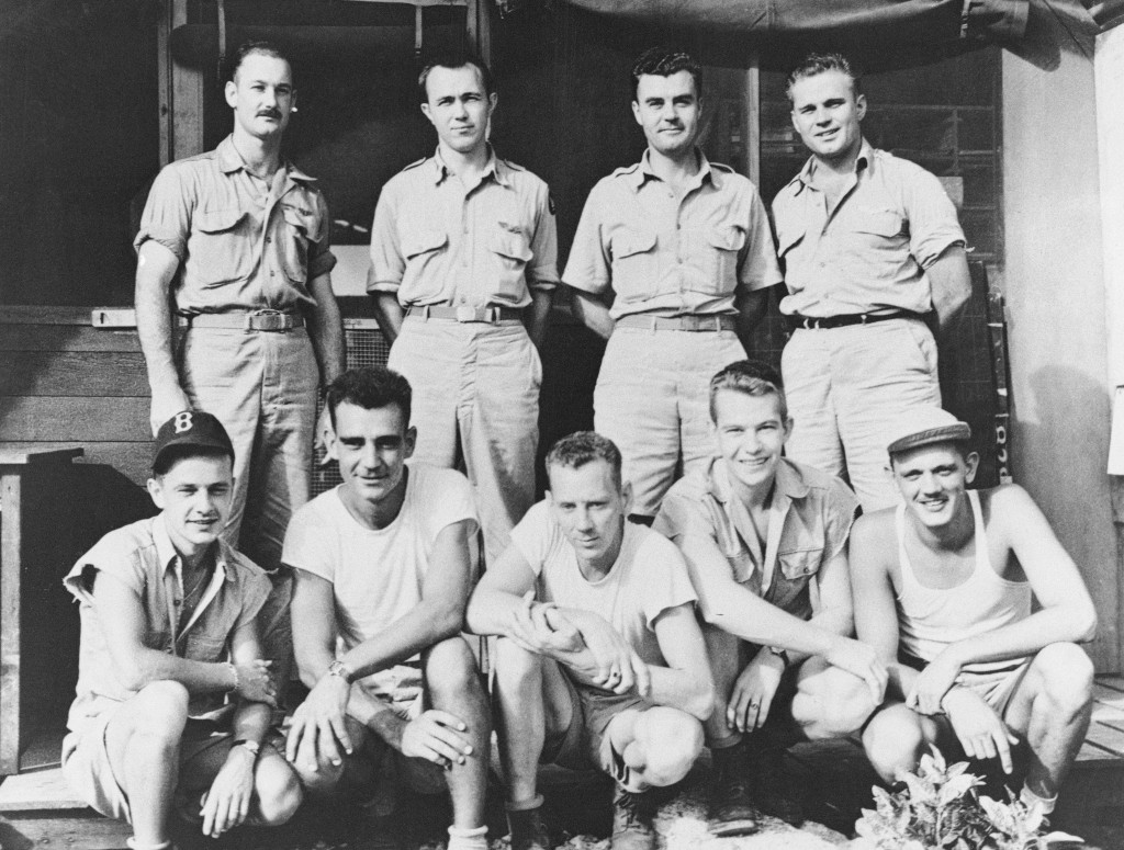 The men who made the historic flight over Hiroshima to drop the first atomic bomb. Top: Flight crew of Enola Gay, attackers of Hiroshima. Left to right kneeling; Staff Sergeant George R. Caron; Sergeant Joe Stiborik; Staff Sergeant Wyatt E. Duzenbury; Private first class Richard H. Nelson; Sergeant Robert H. Shurard. Left to right standing; Major Thomas W. Ferebee, Group Bombardier; Major Theodore Van Kirk, Navigator; Colonel Paul W. Tibbetts, 509th Group Commander and Pilot; Captain Robert A. Lewis, Airplane Commander. (Credit: Bettmann/Getty Images)