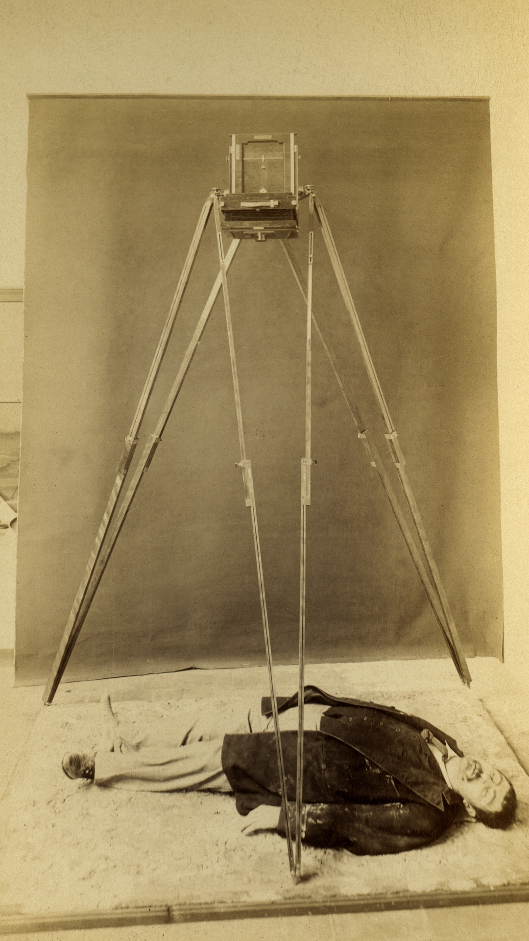 As part of his scientific system of documenting crime scenes, Alphonse Bertillon developed a tripod from which dead bodies could be photographed from above. It was called the 'God's-eye view.' Paris, 1894. (Credit: Adoc-Photos/Corbis via Getty Images)